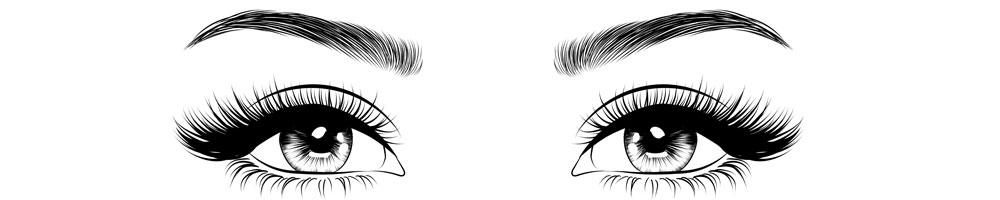 ett par ögon med långa ögonfransar